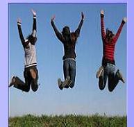 Teenagers jumping for joy